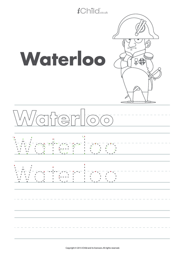 Waterloo Handwriting Practice Sheet
