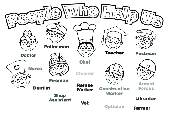 Thumbnail image for the People Who Help Us (black & white) - Signs & Posters activity.