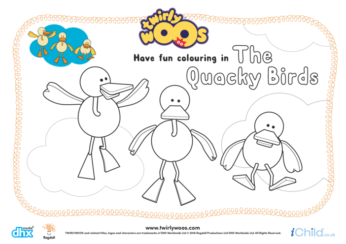 Thumbnail image for the The Quacky Birds Colouring in Picture activity.