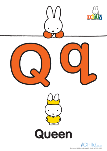 Thumbnail image for the Q: Miffy's Letter Qq (less ink) activity.