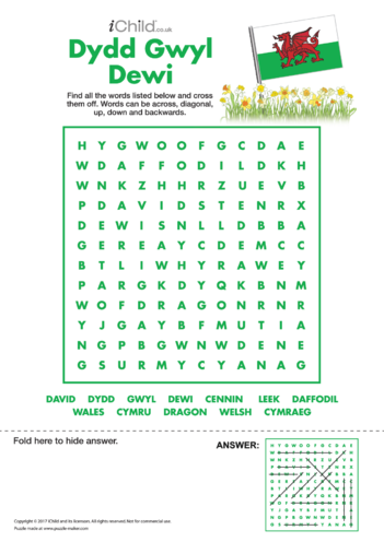 Thumbnail image for the St. David's Day Wordsearch activity.