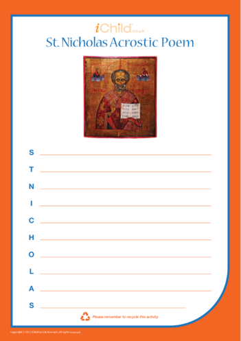 Thumbnail image for the St. Nicholas Acrostic Poem activity.