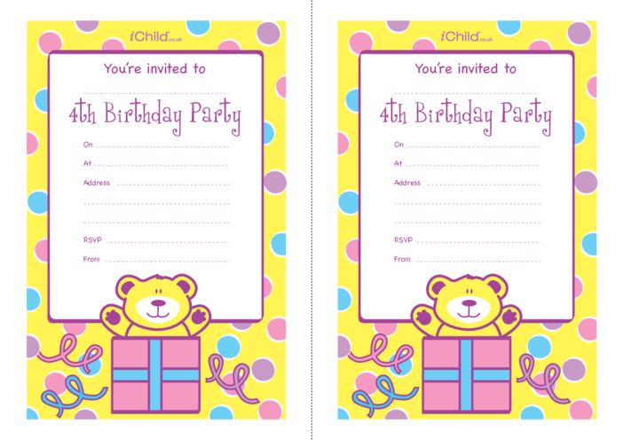 Thumbnail image for the Birthday Party Invitation templates for 4 year old 4th birthday activity.