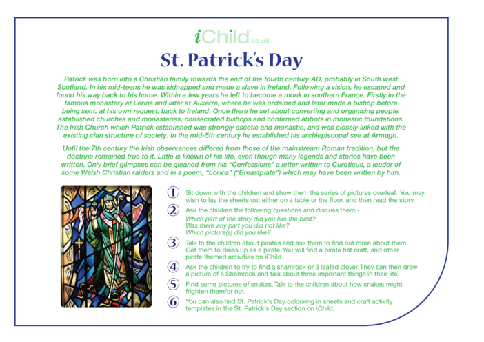 Thumbnail image for the St. Patrick Religious Festival Story activity.