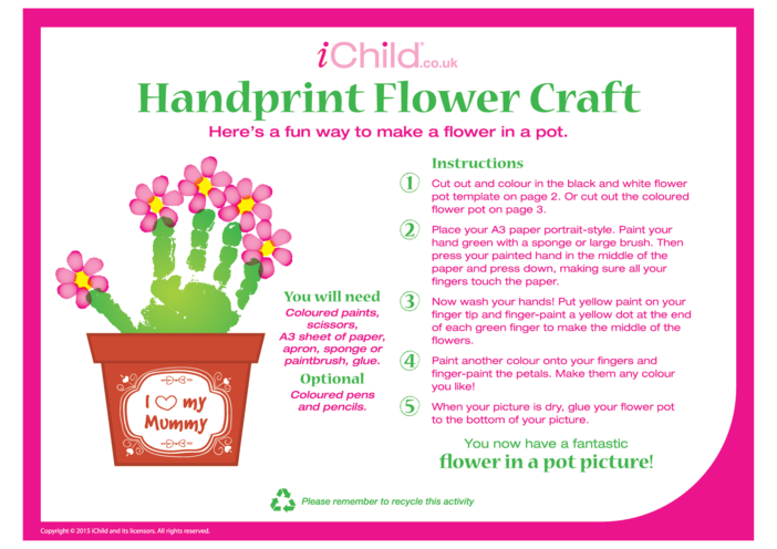 Thumbnail image for the Handprint Flower Craft activity.