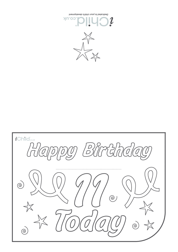 Birthday Card design template for a 11 year old 11th birthday