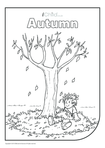 Thumbnail image for the Autumn Colouring in Picture (boy in leaves) activity.