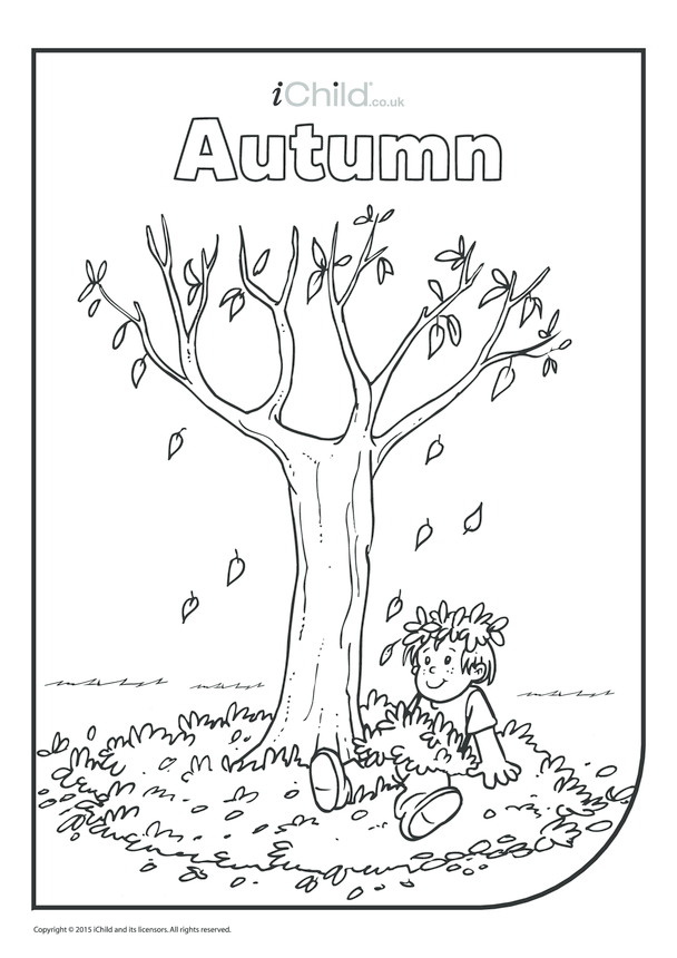 Autumn Colouring in Picture (boy in leaves)