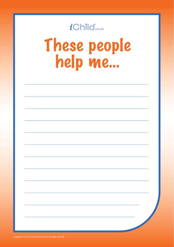 'These People Help Me...' Lined Writing Paper
