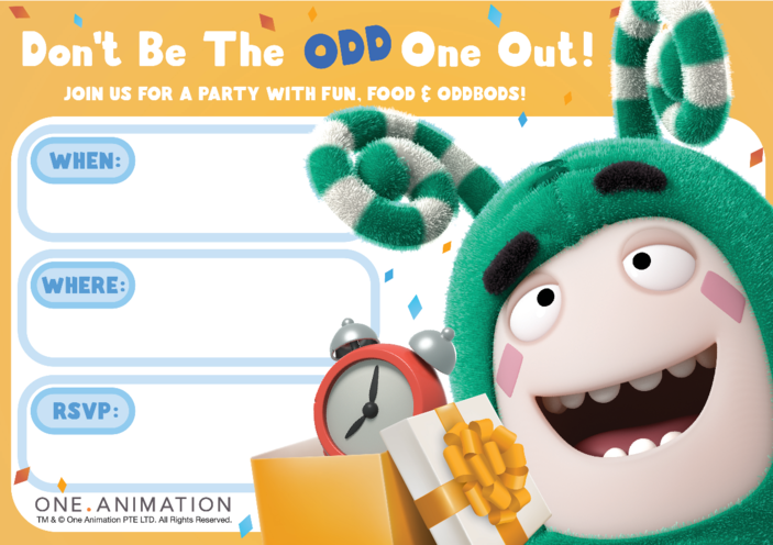 Thumbnail image for the Party Invites Zee Oddbods activity.