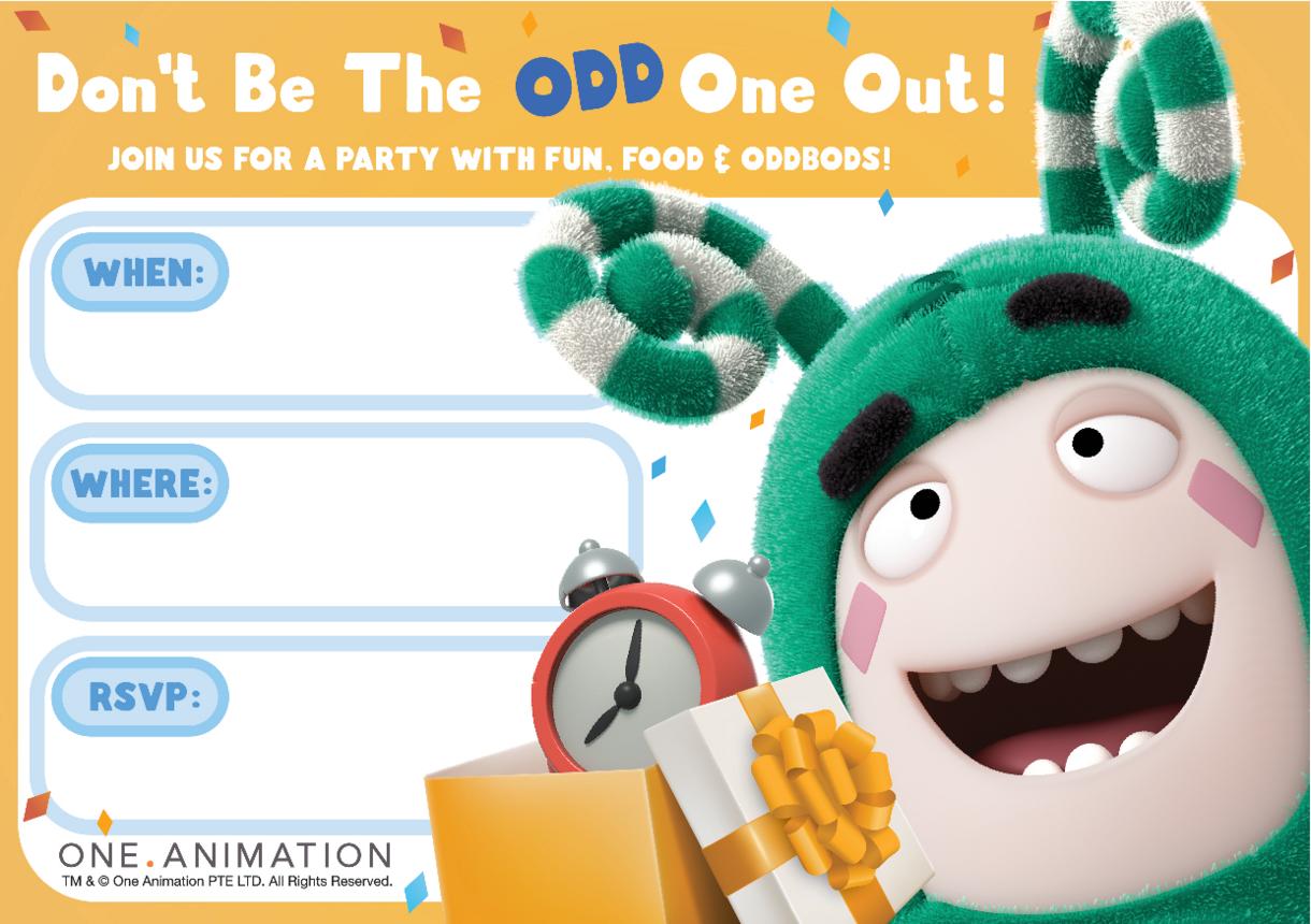 Party Invites Zee Oddbods