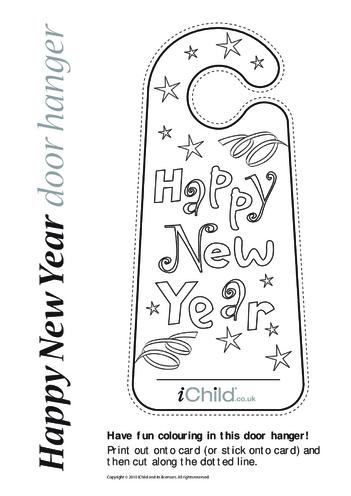 Thumbnail image for the Happy New Year Door Hanger activity.