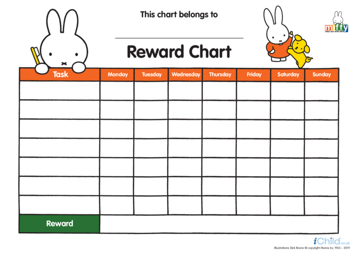 Thumbnail image for the Miffy Reward Chart (less ink) activity.