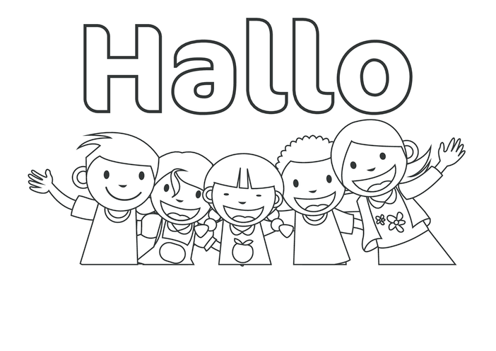 Thumbnail image for the Hello in German (black & white) - Signs & Posters activity.