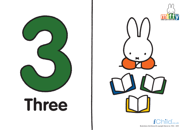 Thumbnail image for the Number 3 with Miffy (less ink) activity.