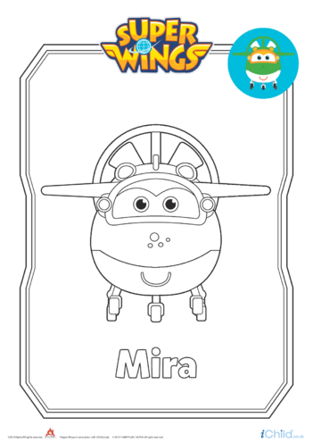Thumbnail image for the Super Wings: Mira Colouring in Picture (Plane Form) activity.