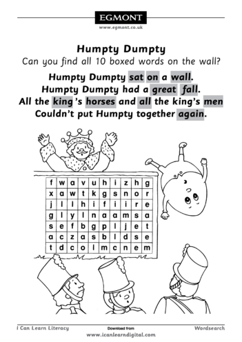 Thumbnail image for the Humpty Dumpty Wordsearch activity.