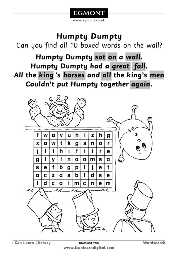 Humpty Dumpty Wordsearch