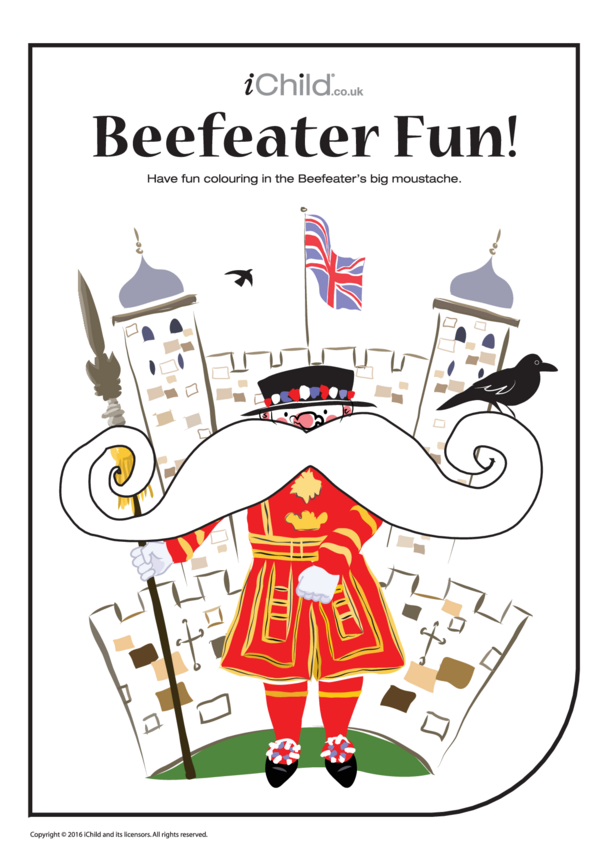 Beefeater Colouring in Picture (the Moustache!)