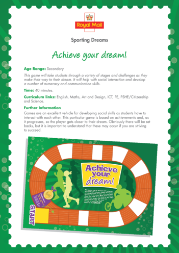 Thumbnail image for the Secondary 5) Achieve Your Dream Lesson Plan activity.