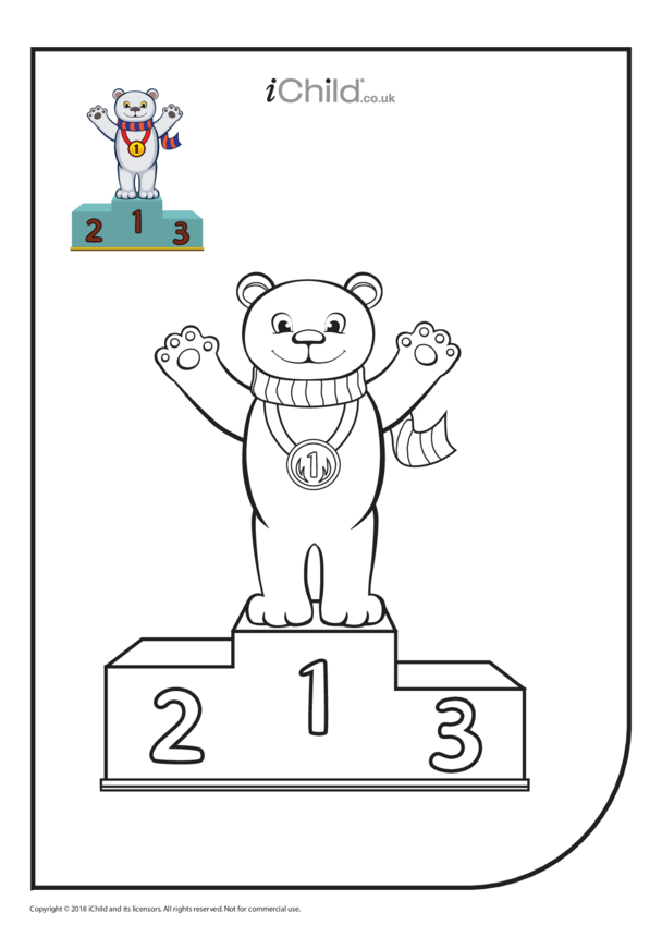 Gold Medalist Bear Colouring in Picture