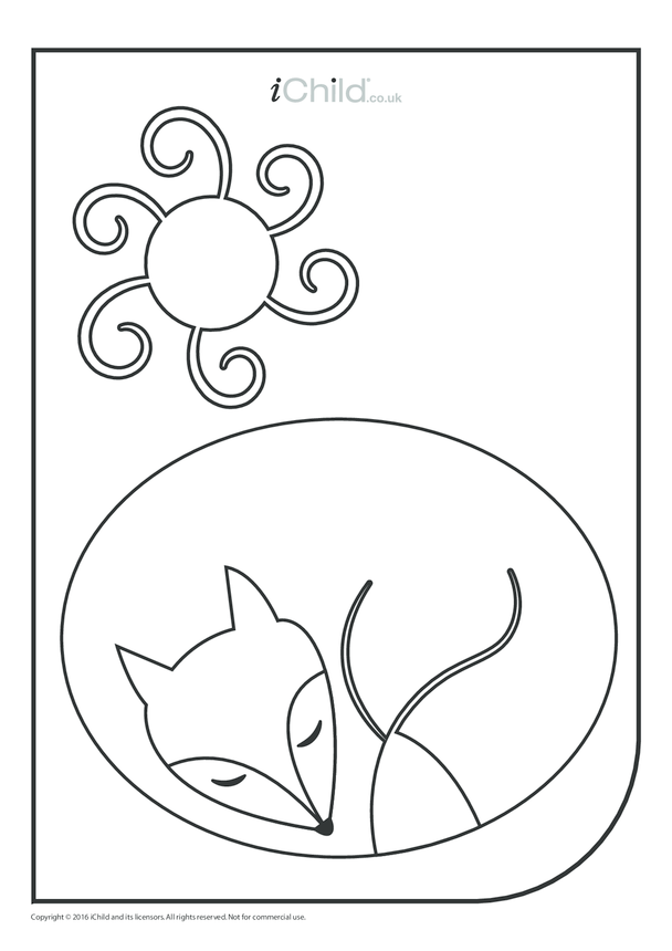 Winter Fox Colouring in Picture