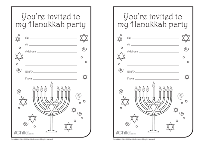 Thumbnail image for the Hanukkah Party Invitations activity.