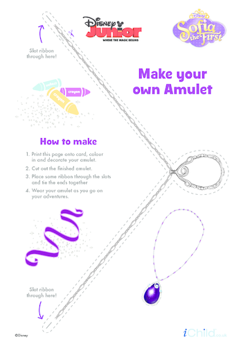 Thumbnail image for the Sofia the First: Make an Amulet Necklace Craft- Disney Junior activity.