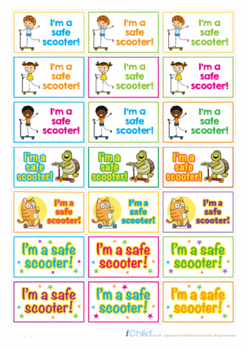 Thumbnail image for the I'm a Safe Scooter Large Sticker Sheet activity.
