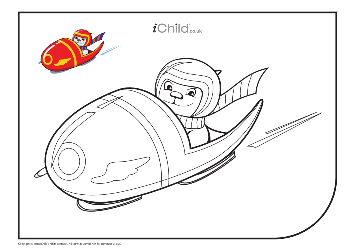 Bobsleigh Bear Colouring in Picture