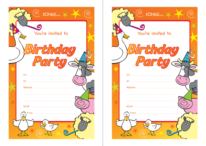 Thumbnail image for the Birthday Party Invitation templates - farm animals activity.