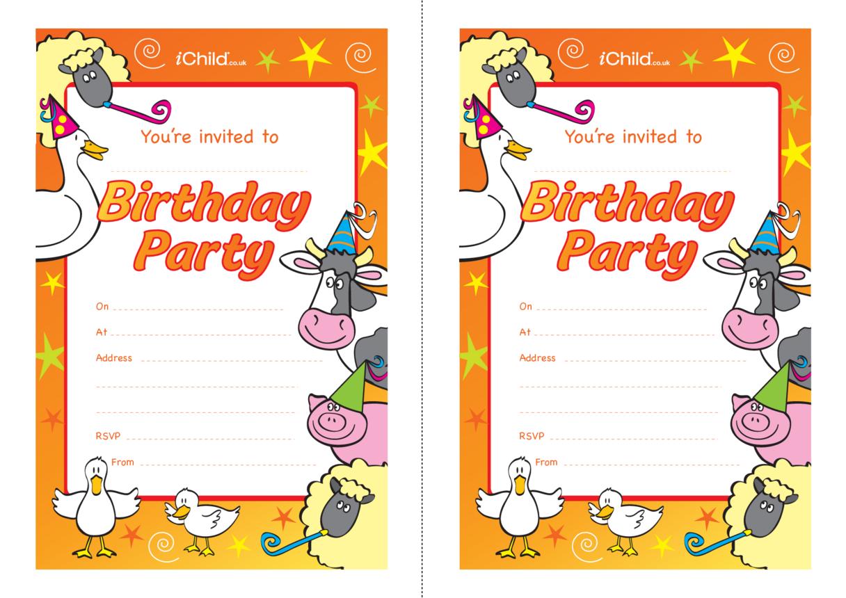 Birthday Party Invitation templates - farm animals