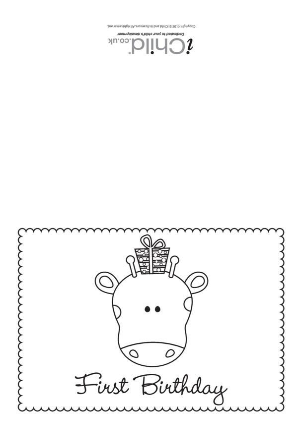First Birthday Card (black & white) - Giraffe