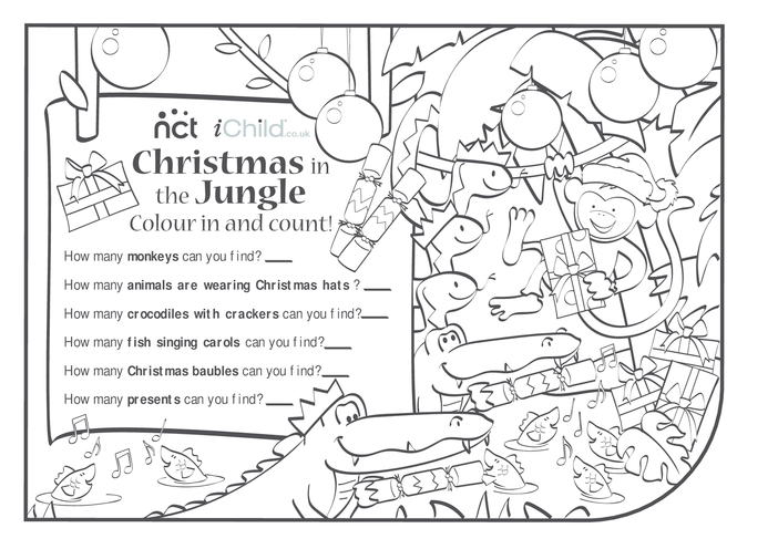 Thumbnail image for the Cheeky Monkey Christmas Colour and Count activity.
