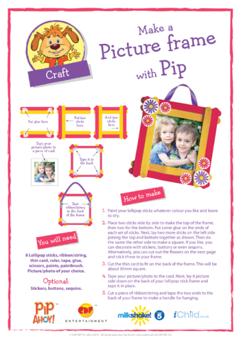 Thumbnail image for the Pip Mother's Day Picture Frame Craft (Pip Ahoy!) activity.