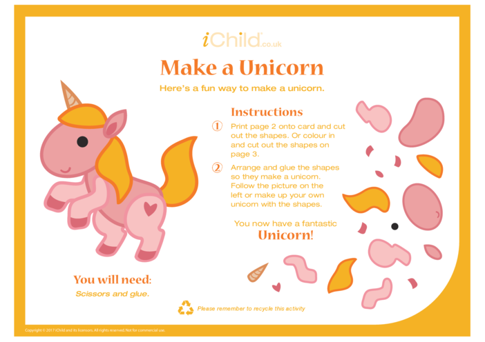 Thumbnail image for the Make a Unicorn - Craft activity.
