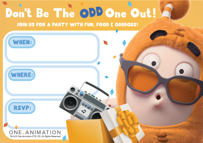 Thumbnail image for the Party Invites Slick Oddbods activity.