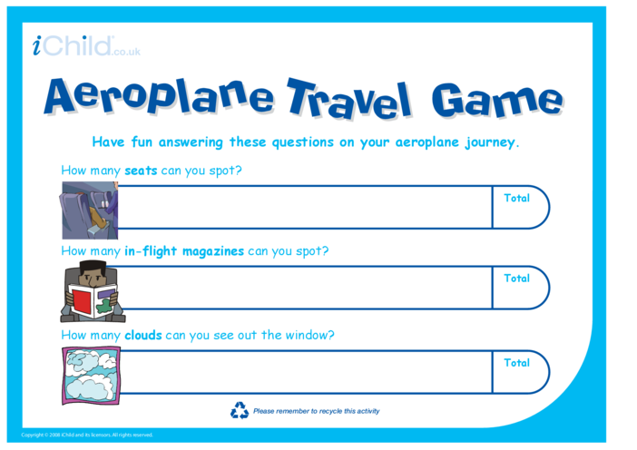 Thumbnail image for the Aeroplane Travel Game activity.