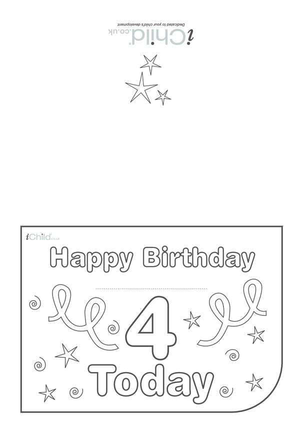 Birthday Card design template for 4 year old 4th birthday