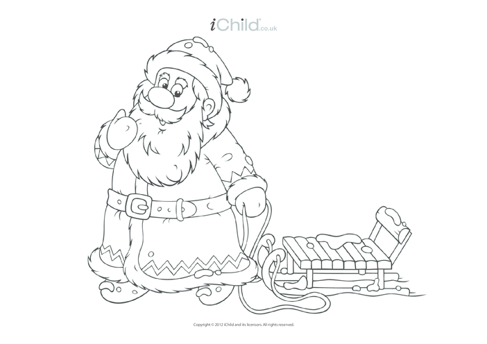 Thumbnail image for the Santa Claus Colouring in Picture activity.