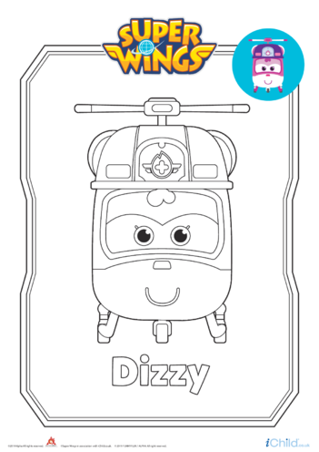 Thumbnail image for the Super Wings: Dizzy Colouring in Picture (Helicopter Form) activity.