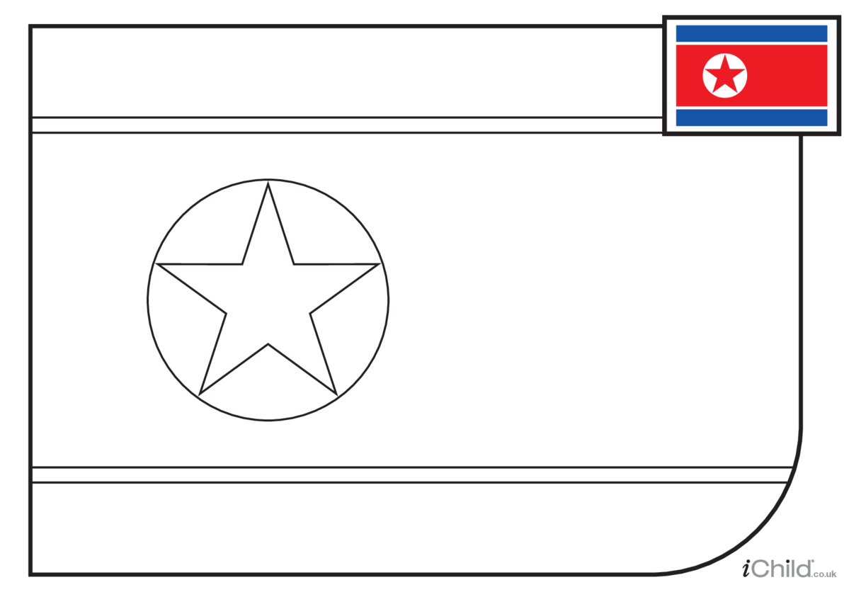 North Korean Flag Colouring in Picture (with little clue)
