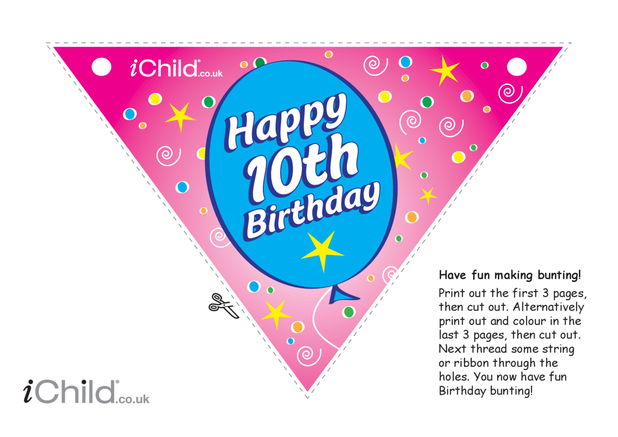 Birthday Party Bunting for a 10 year old's 10th birthday