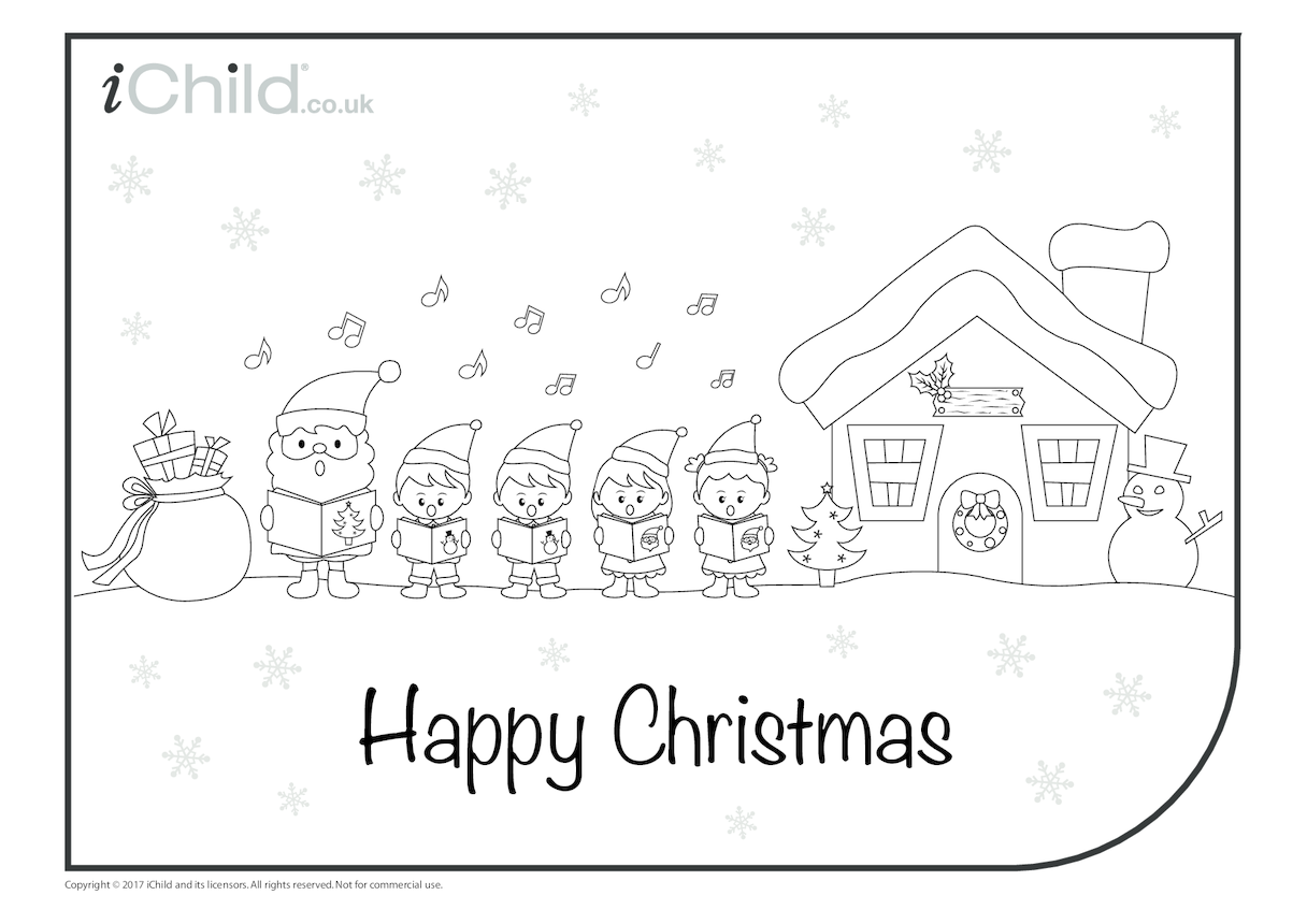 Carol Singers in the Snow Colouring in Picture