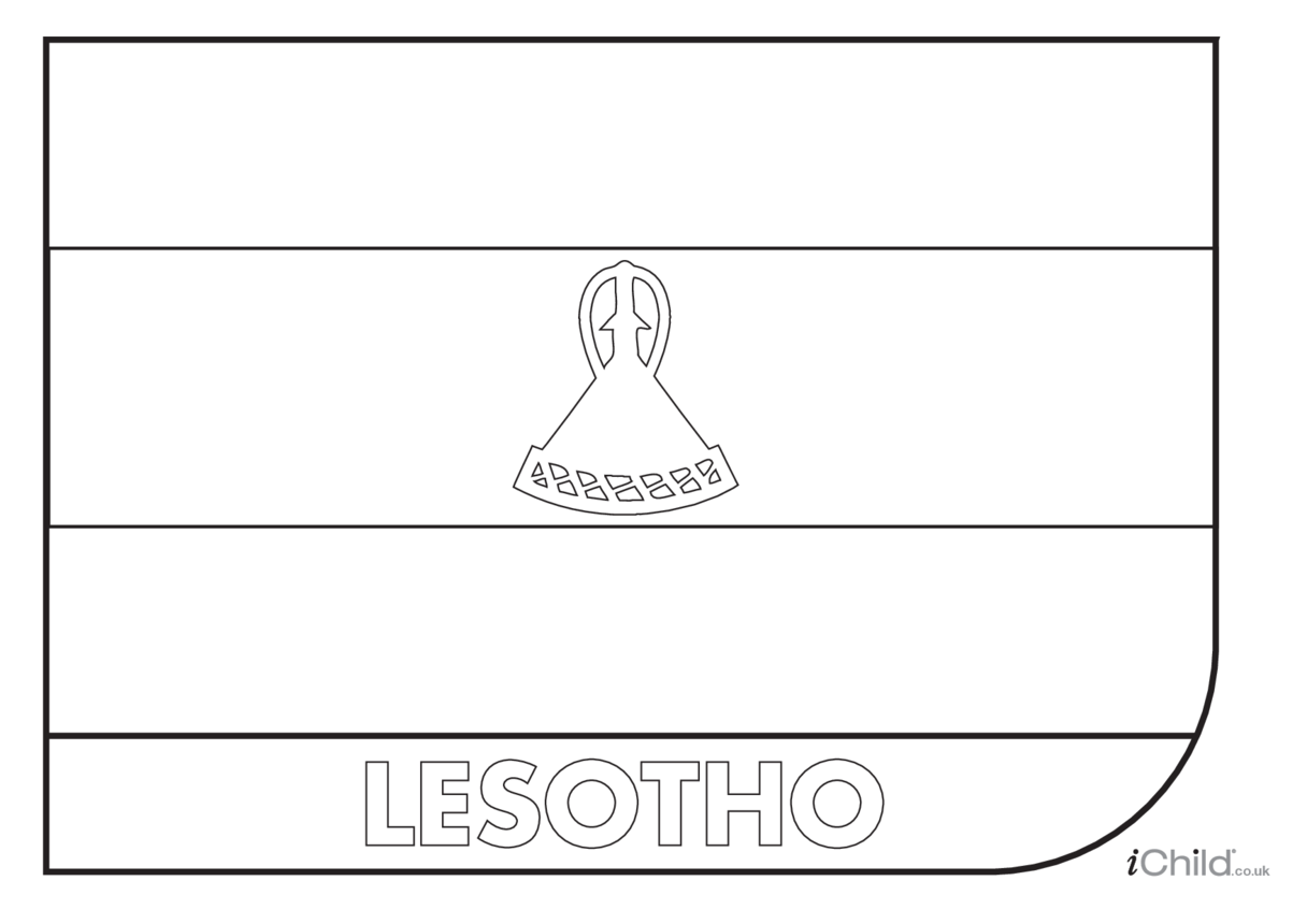 Lesotho Flag Colouring in Picture (flag of Lesotho)