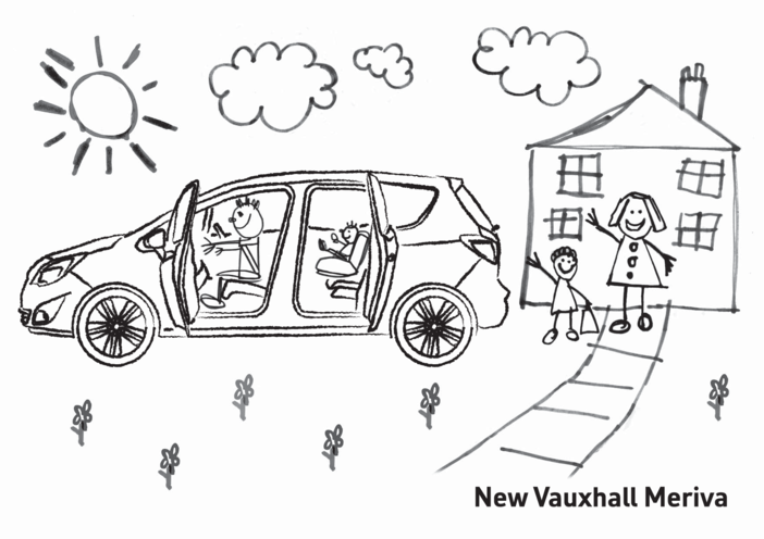 Thumbnail image for the New Vauxhall Meriva Colouring in picture 1 activity.