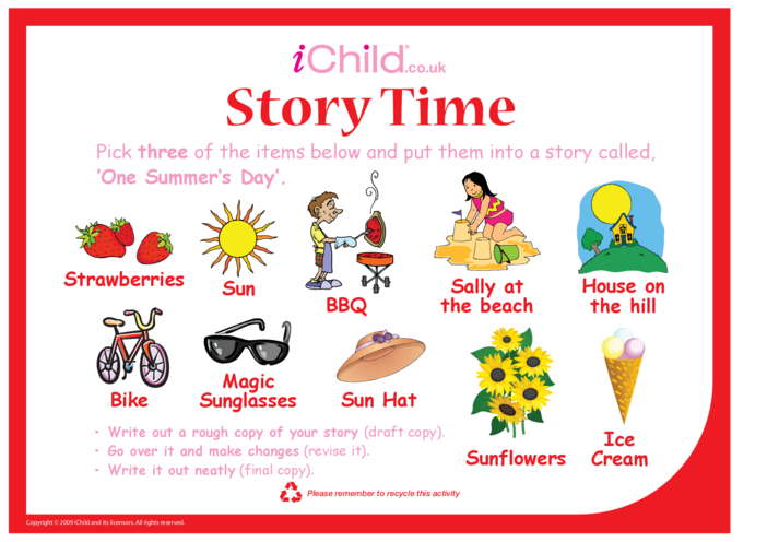 Thumbnail image for the Story Time - Summer's Day activity.