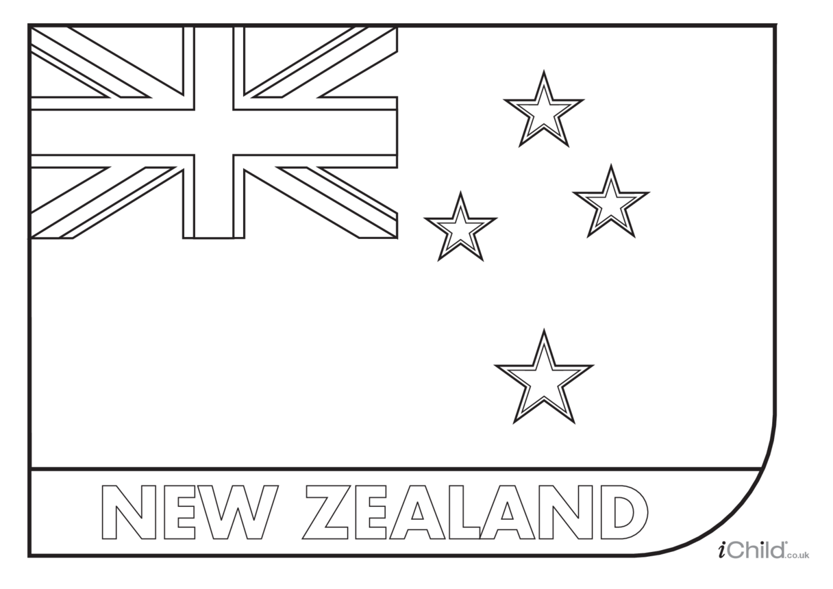 New Zealand Flag Colouring in Picture (flag of New Zealand)