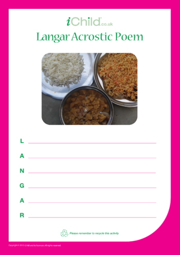 Thumbnail image for the Langar Acrostic Poem activity.