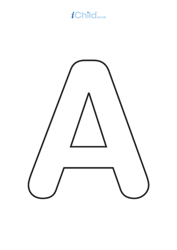 Thumbnail image for the A: Poster of the Letter 'A', black & white activity.